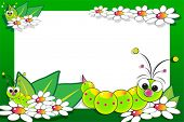 pic of grub  - Kid scrapbook with grub and white daisies  - JPG