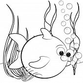 Kids illustration with fish and air bubbles - Coloring page