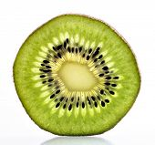 Macro of a thin sliced Kiwi fruit with backlight