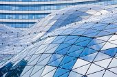 image of modern building  - Blue roof in modern building made of glass and steel - JPG