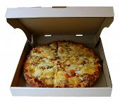 Large Pizza in a Cardboard Box.