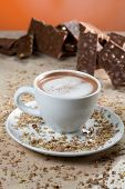 hot chocolate with chocolate background