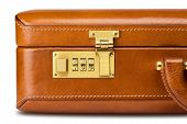 Leather brief case with combination lock