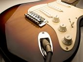electric guitar wide angle vintage sunburst color