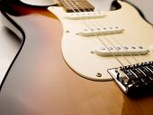electric guitar wide angle vintage sunburst color