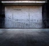stock photo of stonewalled  - Grungy concrete space with roof - JPG