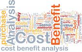 Background concept wordcloud illustration of cost benefit analysis