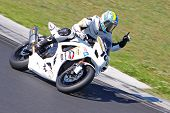 HUNGARORING, HUNGARY - JUNE 19: An unidentified rider raises a finger during ROSBK event at Hungaror