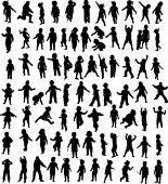 new set of children silhouette - vector