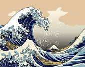TOKYO, JAPAN APR 15: Tsunami from Japanese earthquake shown in old picture from Katsushika Hokusai.