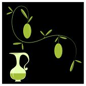 picture of olive trees  - Olive branch and stick to the bottle of oil on black background - JPG