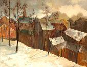 Постер, плакат: Зимний пейзаж города живопись на холсте