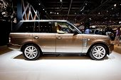 Moscow, Russia - August 25:  Brown Jeep Car Land Rover  At Moscow International Exhibition Interauto
