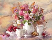 picture of beautiful flower  - bouquet of flowers autumn in a vase - JPG