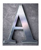 3D rendering an upper case A  letter in metallic typescript print (part of a matching alphabet)
