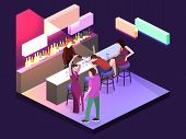 Isometric Flat 3D Isolated Concept Vector Cutaway Bar In The Nightclub. poster