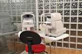 Eye examination equipments at optician - a series of eye exam related pictures.