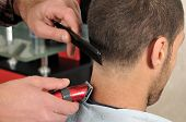stock photo of barbershop  - Barber cutting hair with clipper - JPG