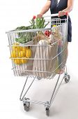 Female shopper with cart isolated on white - a series of SHOPPING TROLLEY images.