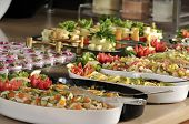 stock photo of buffet lunch  - Buffet style food in trays  - JPG