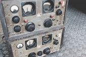 The Old Classic Rack Box Of Military Communication Radio Bandswitching Station. Military Communicati poster