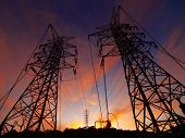 picture of electrical engineering  - Sunset and electric towers - JPG
