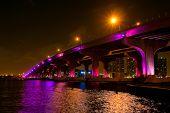 Night view of the bridge in downtown Miami