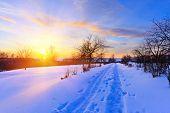 Puesta de sol hermosa del invierno