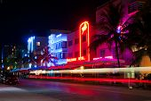 MIAMI BEACH - CIRCA JULY 2009: Night view at Ocean drive circa July 2009 in Miami Beach, Florida. Ar