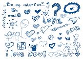 freehand elements with love / doodles set / vector illustration