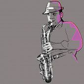 Vector illustration of a saxophonist on a grey background