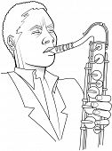 Vector illustration of a saxophonist in black and white
