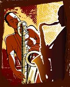 Vector illustration of saxophonists on a grunge background
