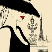 Vector illustration of woman on Alexander bridge in Paris (ink pen drawing)