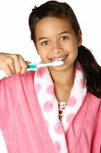 Young Girl With Toothbrush Isolated On White