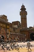 Muslim Man chasing pigeons in courtyard of Wazir Khan Mosque, Lahore, Pakistan