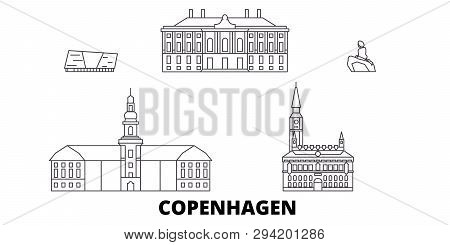 poster of Denmark, Copenhagen Line Travel Skyline Set. Denmark, Copenhagen Outline City Vector Illustration, S