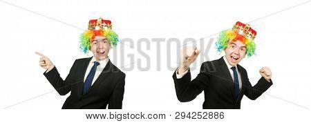 Funny clown businessman isolated on