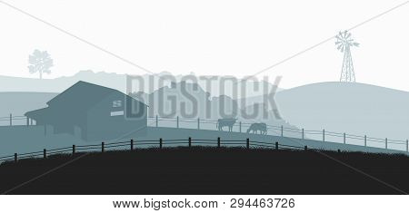 poster of Silhouettes Of Farm Landscape. Rural Panorama Of Runch With Cow On Meadow. Village Scenery For Poste