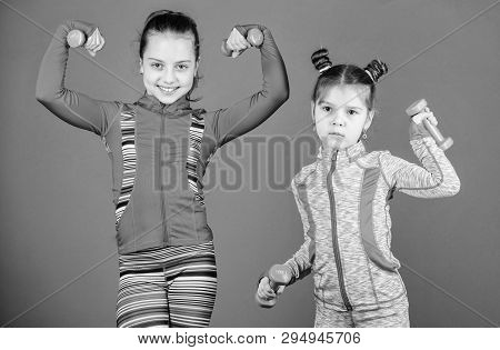 poster of Active Lifestyle. Sport And Fitness For Kids. Cute Sisters Doing Gym Fitness Exercises With Dumbbell