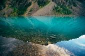 Plants And Stones On Bottom Of Mountain Lake With Clean Water Close-up. Giant Mountain Range Reflect poster