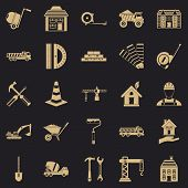 Erection Icons Set. Simple Set Of 25 Erection Vector Icons For Web For Any Design poster