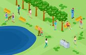 People Relaxing And Running In The Park Isometric Vector Background. Isometric Park With People Do F poster