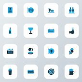 Beverages Icons Colored Set With Check, Shaker, Darts And Other Ale Mug Elements. Isolated Vector Il poster