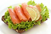 stock photo of bap  - Salmon sandwich - JPG