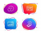 Marketing Statistics, Web Report And Update Time Icons Simple Set. Cashback Sign. Web Analytics, Gra poster
