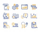 Marketing Statistics, Cogwheel And Heart Icons Simple Set. Approved Agreement, Mobile Survey And Lig poster