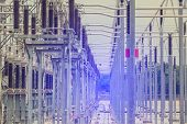 Electric Power Transmission Lines, High Voltage Power Transformer Substation poster