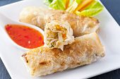 picture of lumpia  - spring rolls with sweet sour souce - JPG