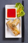 spring rolls with sweet-sour sauce